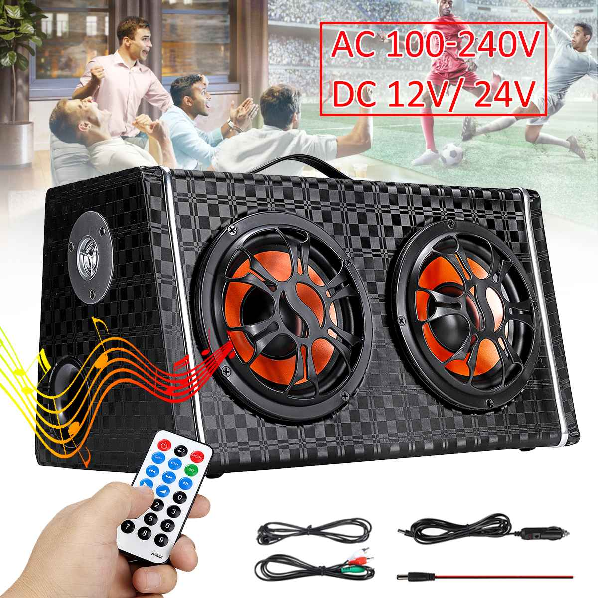 Radio-Player Speakers Car-Stereo-Amplifier Audio Bluetooth 6inch Home Wireless 24V FM