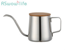 Wooden Lid Coffee Pot Stainless Steel Hand-held Slender For Kitchen Bar Supplies