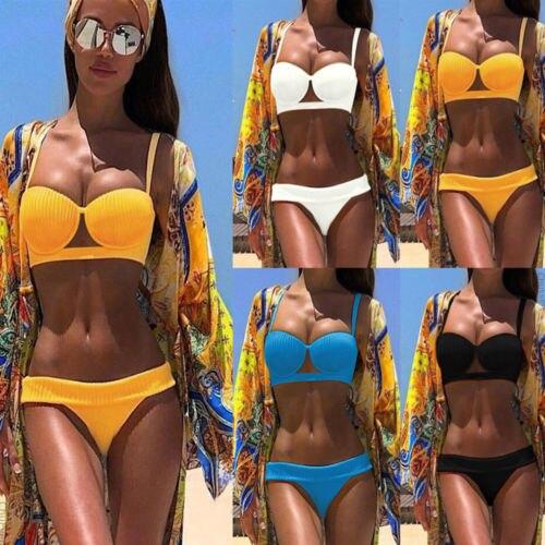 Sexy Ladies Padded Push-up Bra Bikini Set Solid Design Swimsuit Bandage Bathing Suit Low Waist Swimwear Women Bandage Beachwear costumi moda 2019