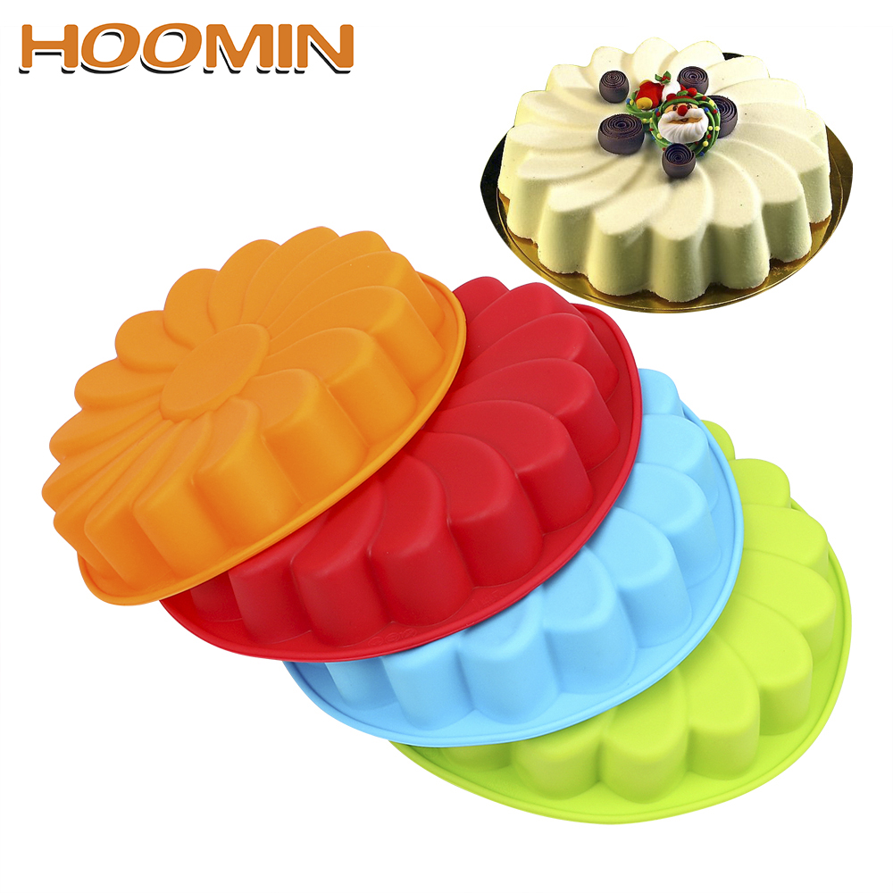 HOOMIN For Baking Cookie Mould Kitchen Pastry DIY 3D Sunflower Form Fondant Cake Silicone Mold Cake Decorating Tool image