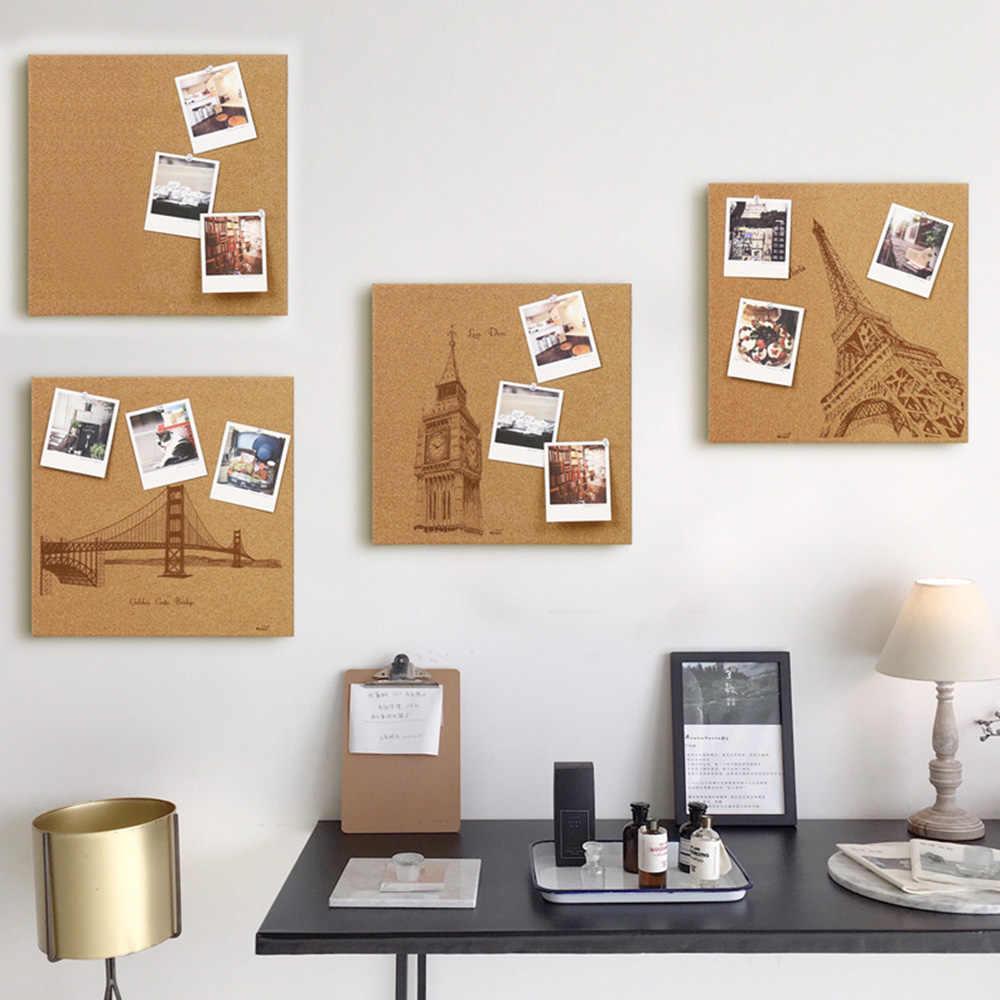35*35 Cm Cork Board Ubin Square Mini Dinding Papan Buletin dengan Snap Hook Pin Board Dekorasi untuk Foto catatan Kreatif Hadiah