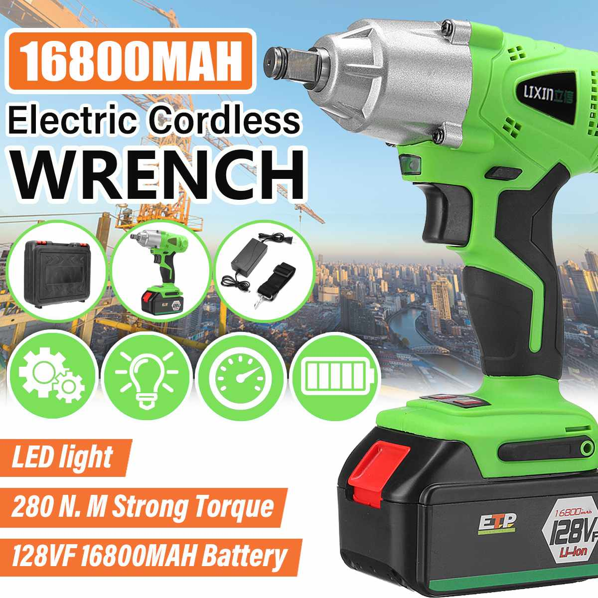 Brushless Electric Impact Socket Wrench Cordless Rechargeable Lithium Battery W/ LED Light Car Tire Wheel Hand Drill Power ToolBrushless Electric Impact Socket Wrench Cordless Rechargeable Lithium Battery W/ LED Light Car Tire Wheel Hand Drill Power Tool