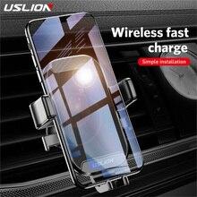 USLION רכב הר צ י אלחוטי מטען עבור iPhone XS מקסימום X XR 8 מהיר טעינה אלחוטי לרכב עבור סמסונג הערה 9 S9 S8