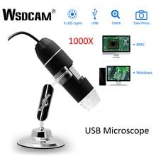 Wsdcam 1000X USB הדיגיטלי מיקרוסקופ עבור אנדרואיד Iphone נייד טלפון 8 LED 3in1 ילדים דיגיטלי מיקרוסקופ USB אנדוסקופ זום מצלמה