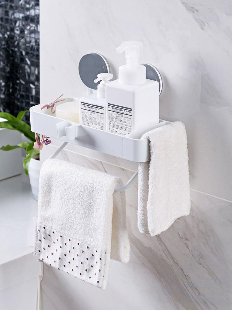 1PCS Wall Suction Towel Pole Shelf Plastic Hole-free Shelf Toilet Sucker Receptacle Shelf Shower Organizer Bathroom Storage