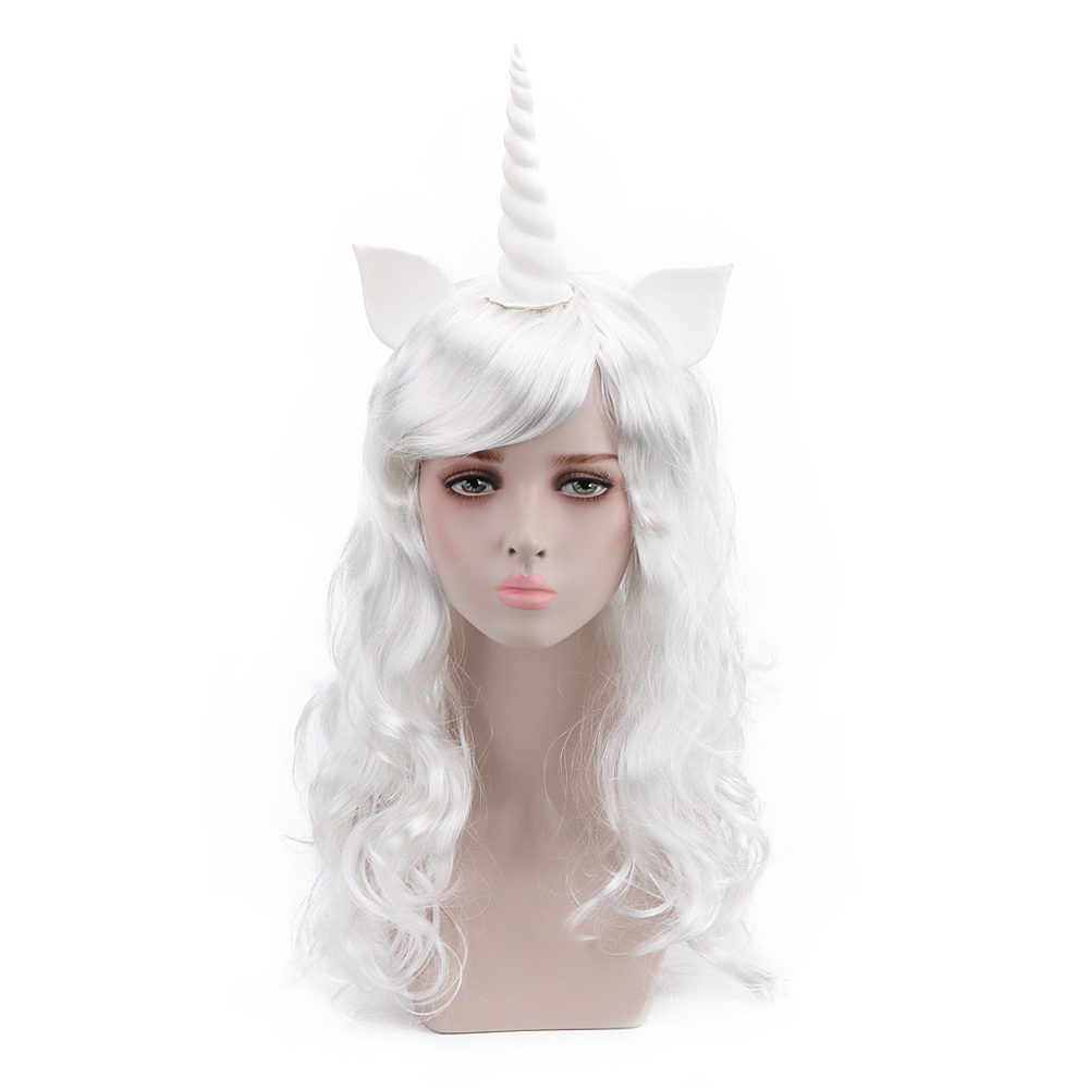 Free Beauty 24'' Long Wavy White Synthetic Unicorn Pony Cosplay Wigs With Bangs Horn And Ears For Kid Teen Adult Party Birthday
