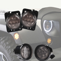 LED Five Stars Smoke Lens Front Bumper Fog Turn Signal Lights & Amber Color Fender Side Marker Light for Jeep Wrangler JK 07 18