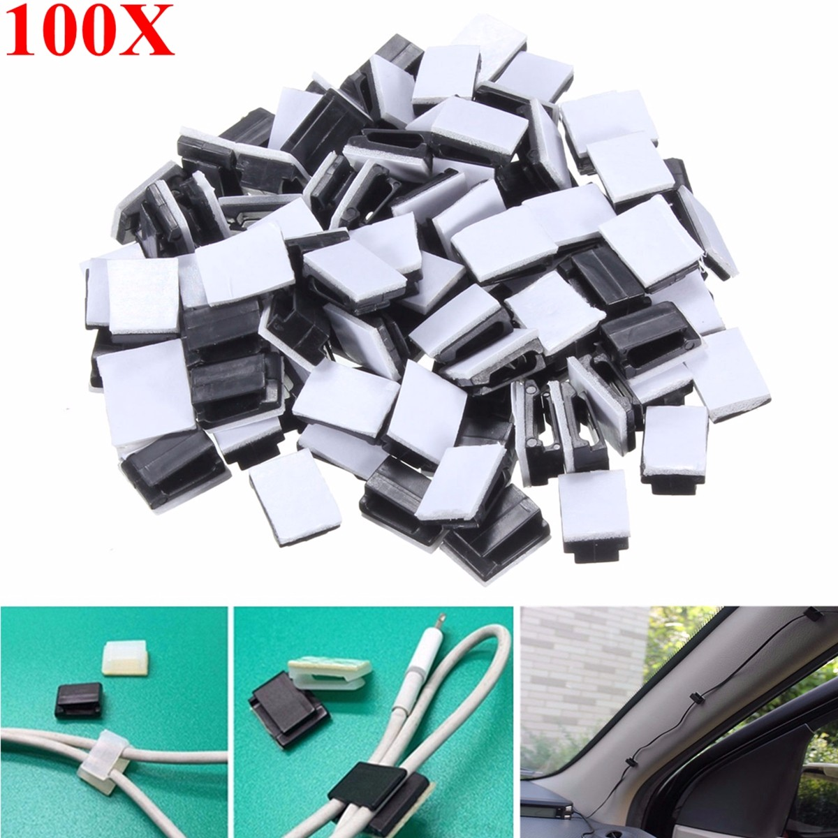 100pcs Plastic Wire Tie Rectangle Cable Mount Clip Clamp Self-adhesive Black mk