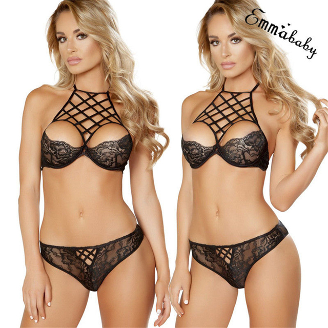 7e5d6fdce9 2019 Hot Brief Sets Bandage Lace Bra Thongs Bralette Sexy Lingerie Set  Female Fashion Women s Underwear Transparent Intimates