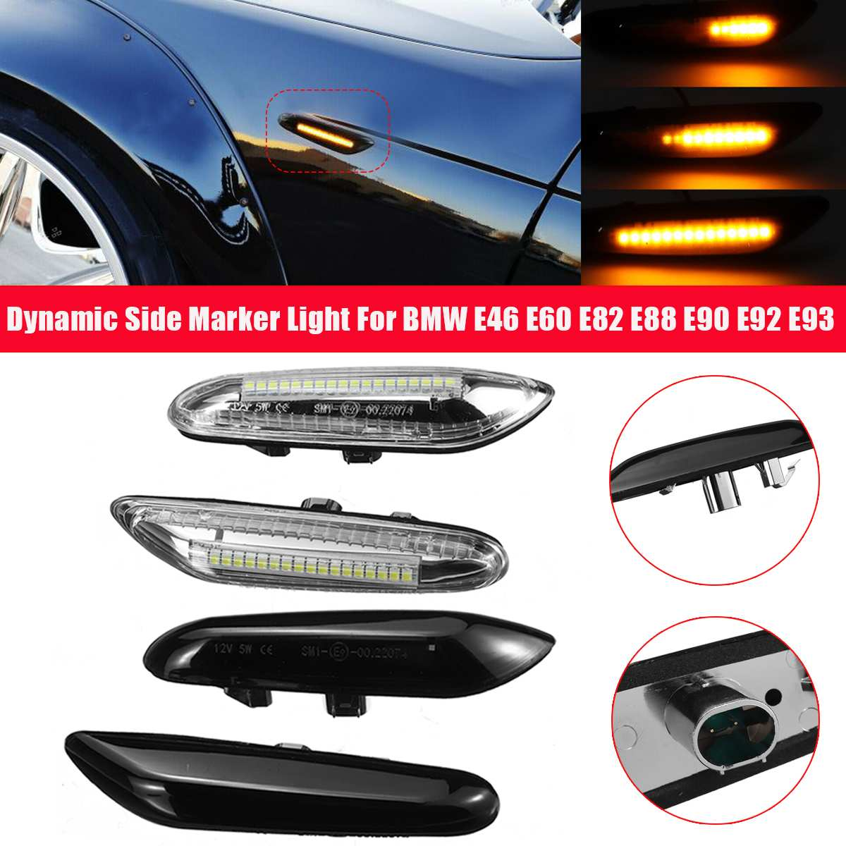 FOR BMW 5 SERIES E60 E61 2003-2010 SMOKED//AMBER BLUE LED SIDE REPEATER LAMPS
