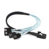 10pcs/lot Cablecc Mini SAS 4i SFF 8087 36P to 4 SATA 7pin HDD Cable 1m