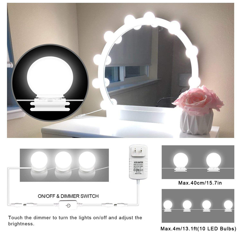 LED Vanity Mirror Lights with Dimmable 10LED Bulbs with Power Supply 4M Lighting Fixture Strip for Makeup Dressing 6500K-7000K