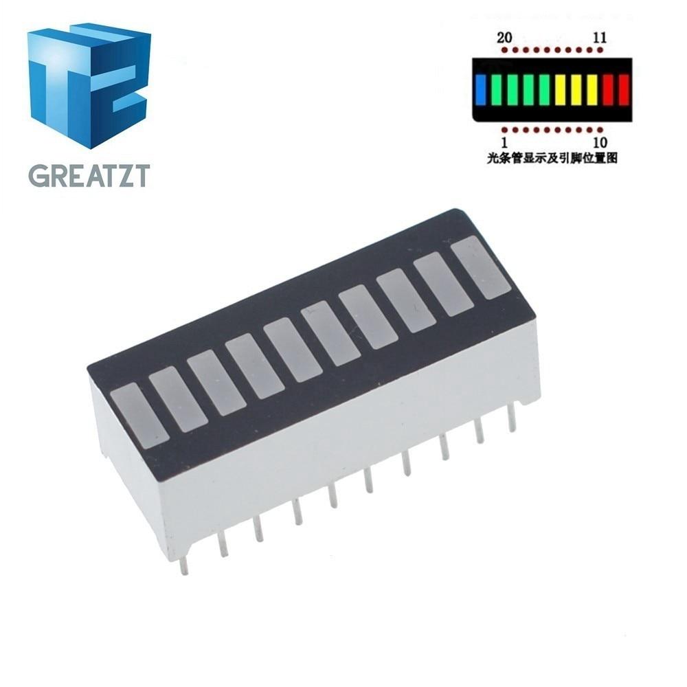 1PCS 10 Grid Digital Segment LED Light Bar Super Bright 2 Red+3 Yellow+4 Green+1 Blue Light Flat Tube B10BRYGB