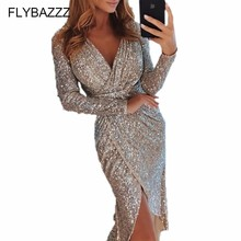 Купить с кэшбэком  New Multicolor Party Sequins Sparkly Skinny Dress Sexy V Neck Long Sleeve Dress Spring Autumn Night Out Women Beach Dresses