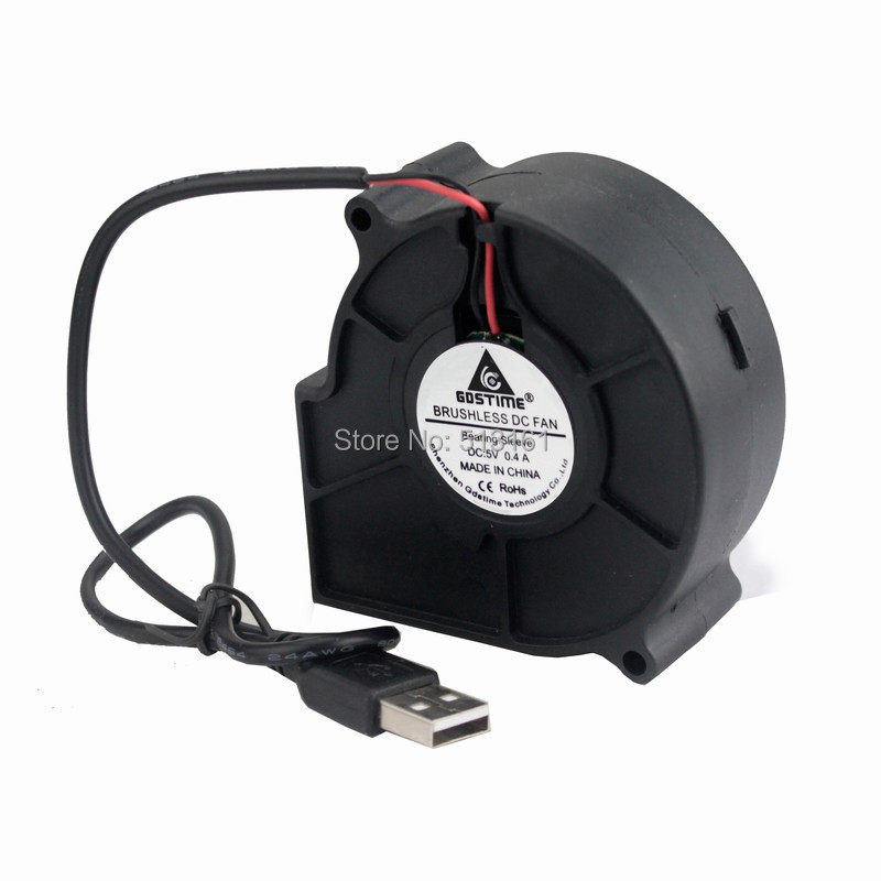 100 Pieces Gdstime USB 7530s 5V DC 0 4A Blower Fan 75mm 75x30mm Turbine Blower Cooling Cooler Fan in Fans Cooling from Computer Office