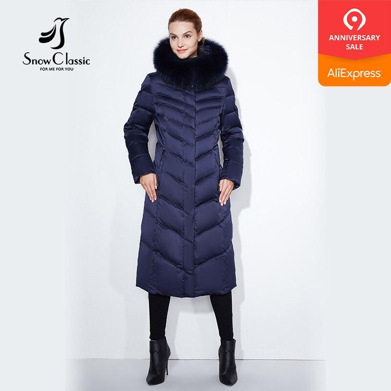 Snowclassic 2017 dame große größe pelz kragen hut lange körper baumwolle jacke jacke warm kalt mode streifen-in Parkas aus Damenbekleidung bei  Gruppe 1