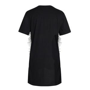 Image 2 - [EAM] 2020 New Spring Summer Round Neck Short Sleeve Black Loose Ruffles Three dimensional Loose Dress Women Fashion JR674
