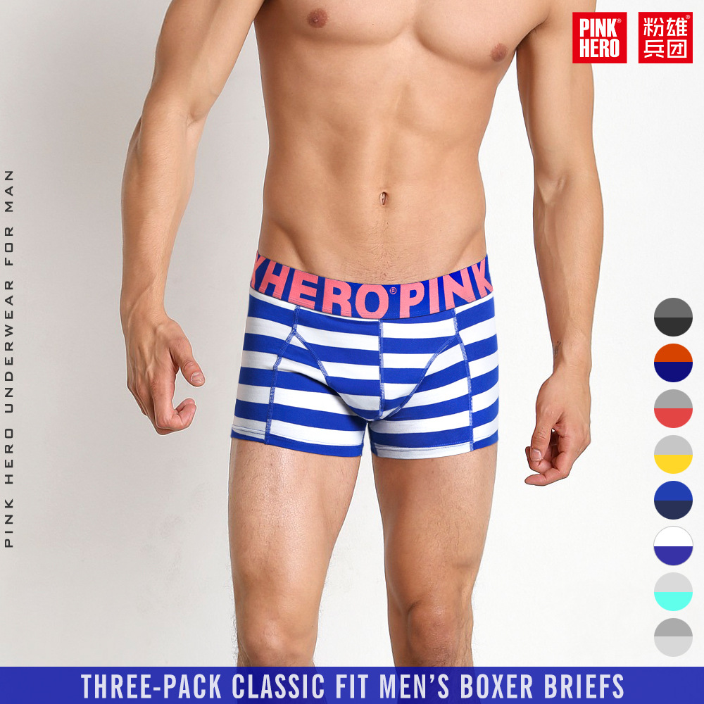 Trustful Pink Heroes Men Underwear Boxers Ocean Wind Cotton Sexy Men Boxer Underwear Striped Wave Print Mens Shorts Boxer Panties Cuecas Underwear & Sleepwears Boxers