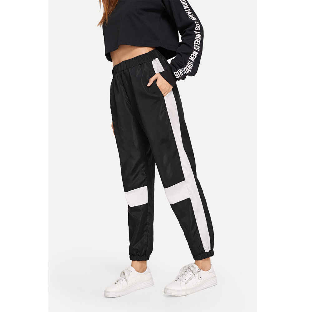 7ddf4126b154 2018 Spring Sweatpants Women Casual Harem Pants Loose Trousers For Women  White Striped Side Sweat Pants