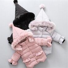 Меховое Детское пальто из хлопка с капюшоном модные теплые толстые детские пальто для маленьких девочек для зимы Прекрасная принцесса зимняя одежда хлопковое пальто