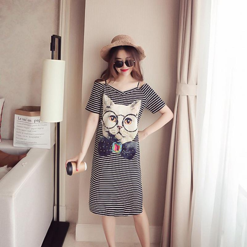 MISSKY 2019 New Summer Women Cartoon Cat Pattern Off Shoulder Short Sleeve V Neck T-shirt Dress Female Clothes
