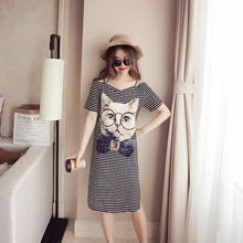 MISSKY 2019 New Summer Women Cartoon Cat Pattern Off Shoulder Short Sleeve V Neck T-shirt Dress Female Clothes