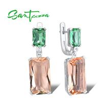SANTUZZA Silver Earrings For Women 925 Sterling Silver Shiny Green Champagne Crystal Dangling Earrings Fashion Jewelry