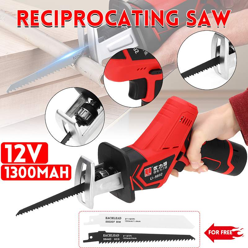 12V 1300mAh Electric Reciprocating Saw Saber Convert Adapter Cordless Wood Metal Plastic Pruning Chainsaw Tool Rechargeable