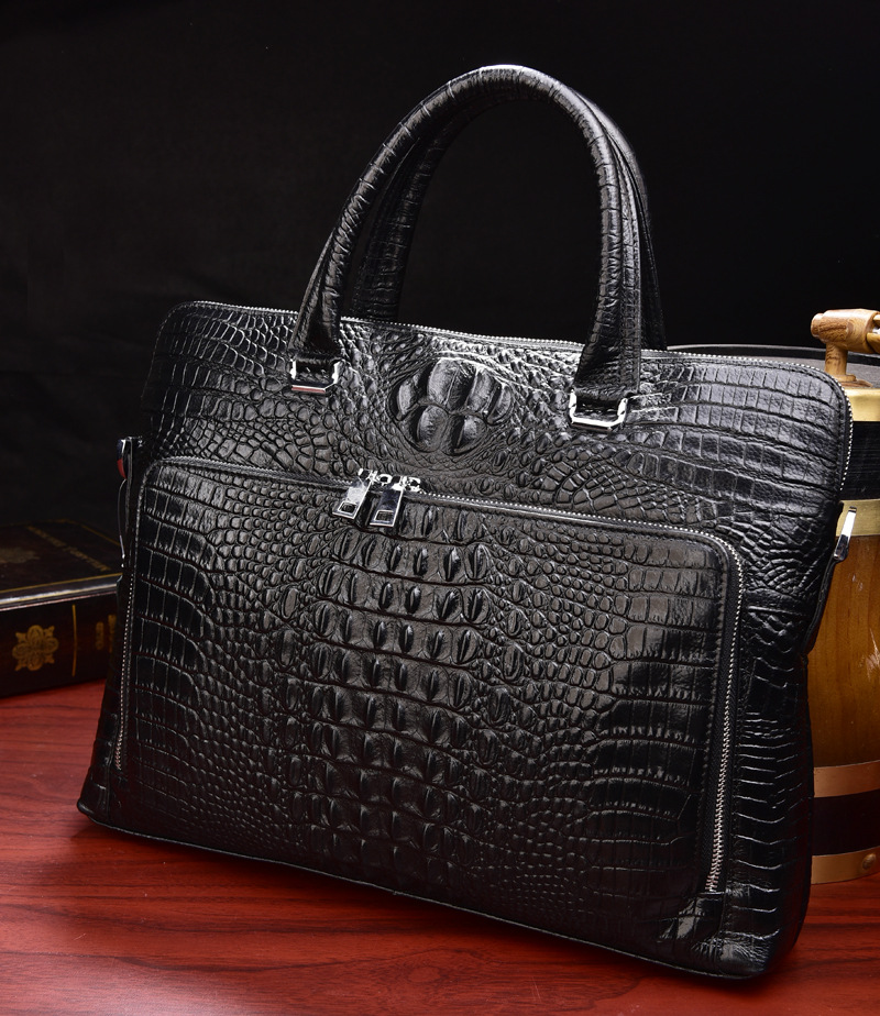 2019 New Luxury 100% Cow Genuine Leather Business Men's Briefcase Male Shoulder Bag Real Leather Men Alligator Tote Computer Bag