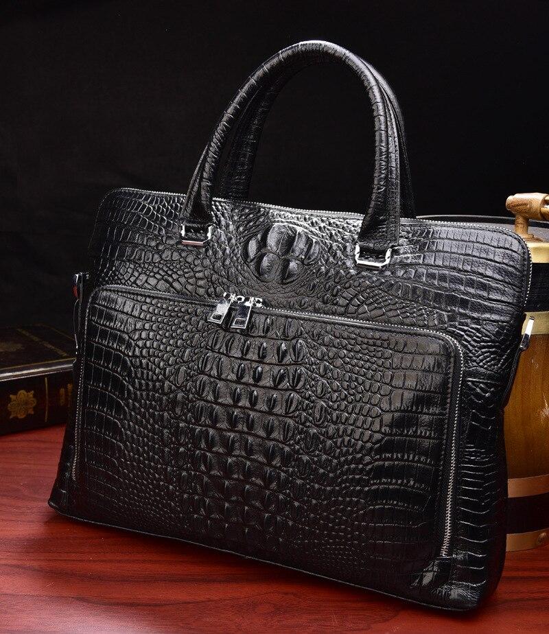 2019 nouveau luxe 100% vache en cuir véritable affaires hommes porte-documents homme sac à bandoulière en cuir véritable hommes Alligator fourre-tout sac d'ordinateur