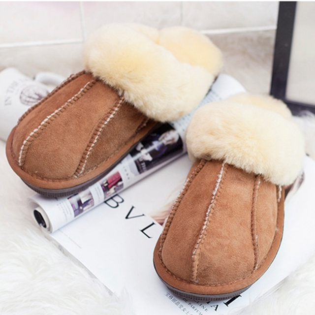 Winter Warm Indoor Shoes Thick Wool Slippers Women Men Couple Furry Sheepskin  Slippers Australia Genuine Leather Slippers-in Slippers from Shoes on ... 30d36a870