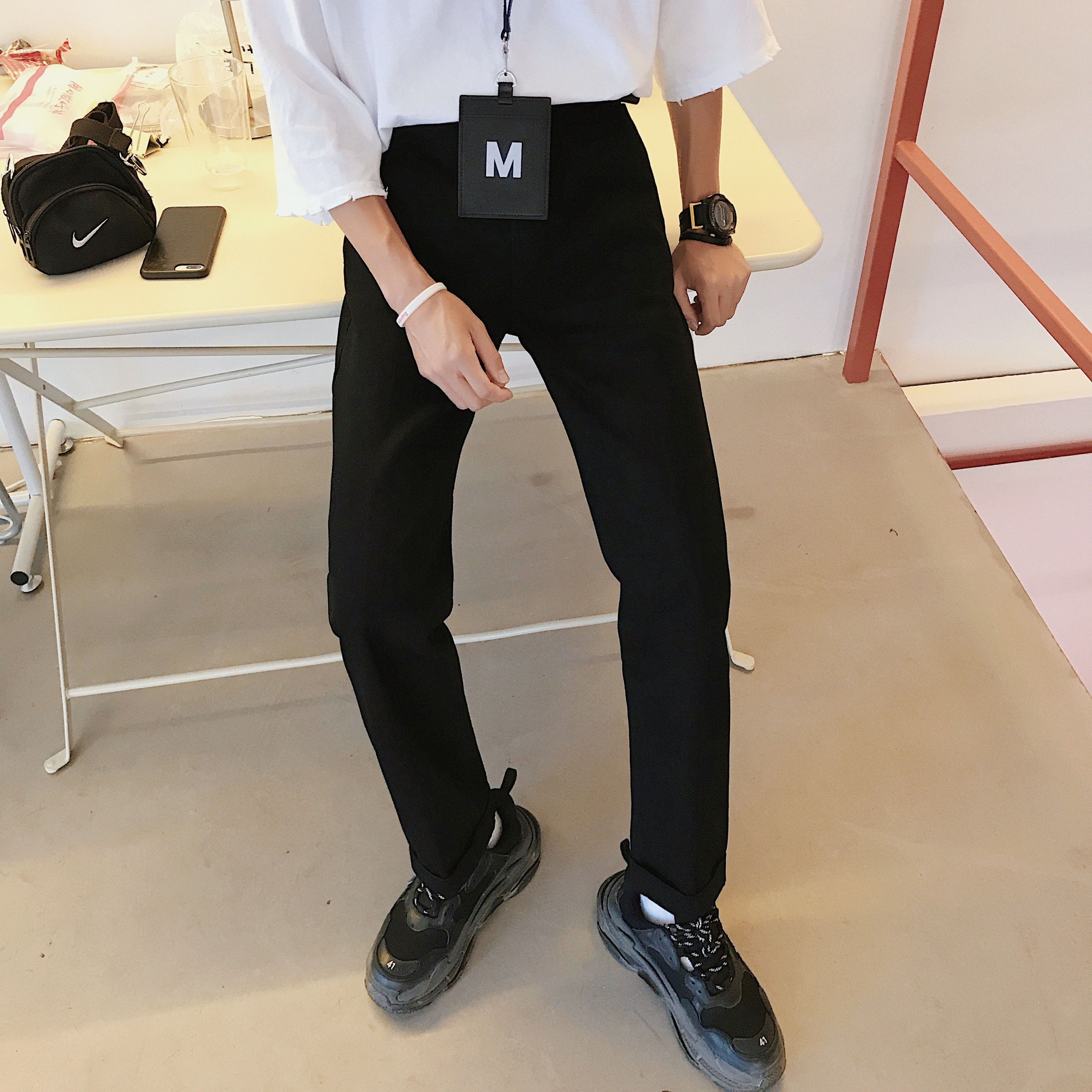 2019 Spring Original stretch slim fit Jeans New Men Directly Canister Bound Feet Jeans Straight Classic Loose Solid Black Pants in Jeans from Men 39 s Clothing