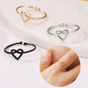 New 1PC Ring Adjustable Golden Knot Bride Couples High Quality Open Cross Hollow Out Valentines Gift Heart Wedding Women jewelry image
