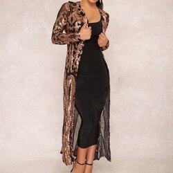 Cekiny kurtka kobiety z długim rękawem festiwal złota kurtka chaqueta znosić klubowa szczupła eleganckie panie topy długa strona peleryna 1