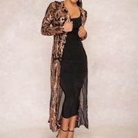 sequin jacket Women Long Sleeve festival Gold jacket chaqueta Outwear Clubwear slim elegant ladies tops Long Party Cape Coat