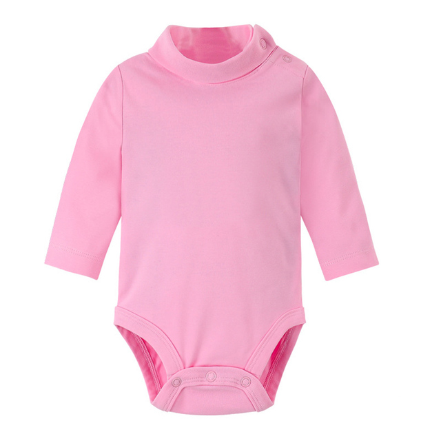 Infant Baby Unisex Cotton Solid Bodysuit High Collar Outfit
