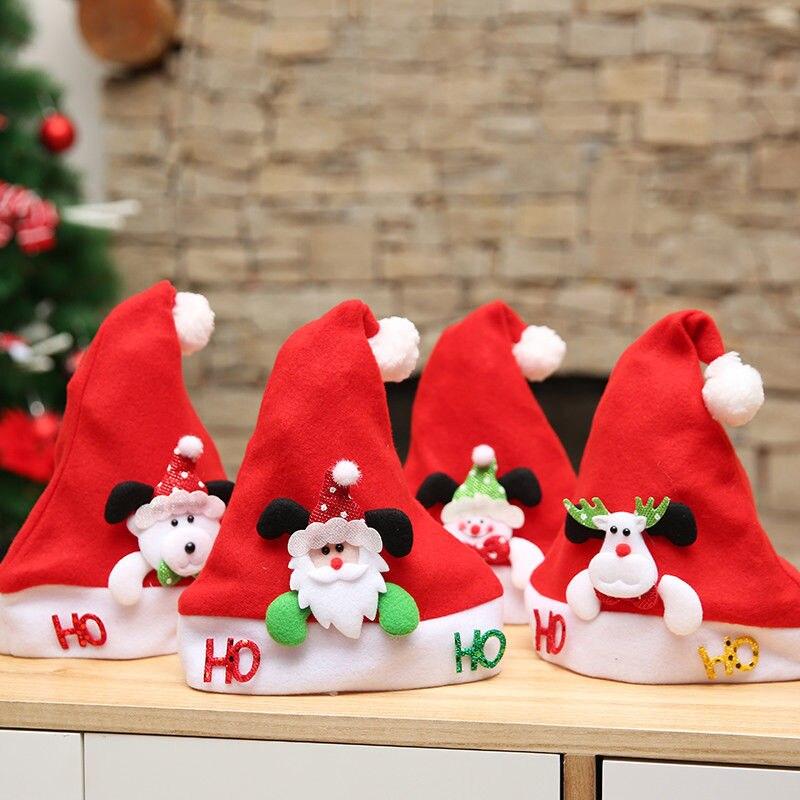 2018 Christmas Kid Hat Ornaments Decoration Christmas Hats Santa Hats Children Boys Girls Cap For Christmas Party Props
