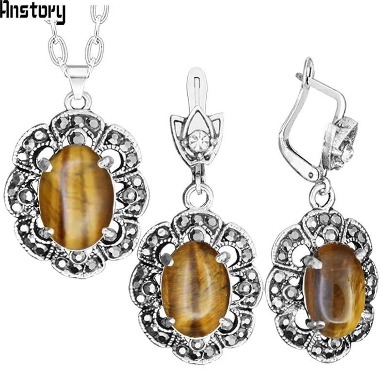 Plum Flower Pendant Natural Tiger Eye Necklace Earrings Jewelry Set Rhinestone Vintage Fashion Jewelry For Women TS403
