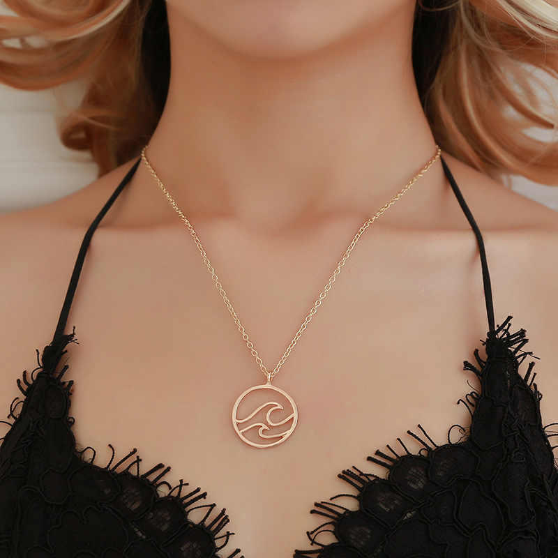 Mossovy Simple Wave Gold Necklace Black Silver Chain Retro Geometric Pendant Necklace for Women Female Fashion Jewelry 2018