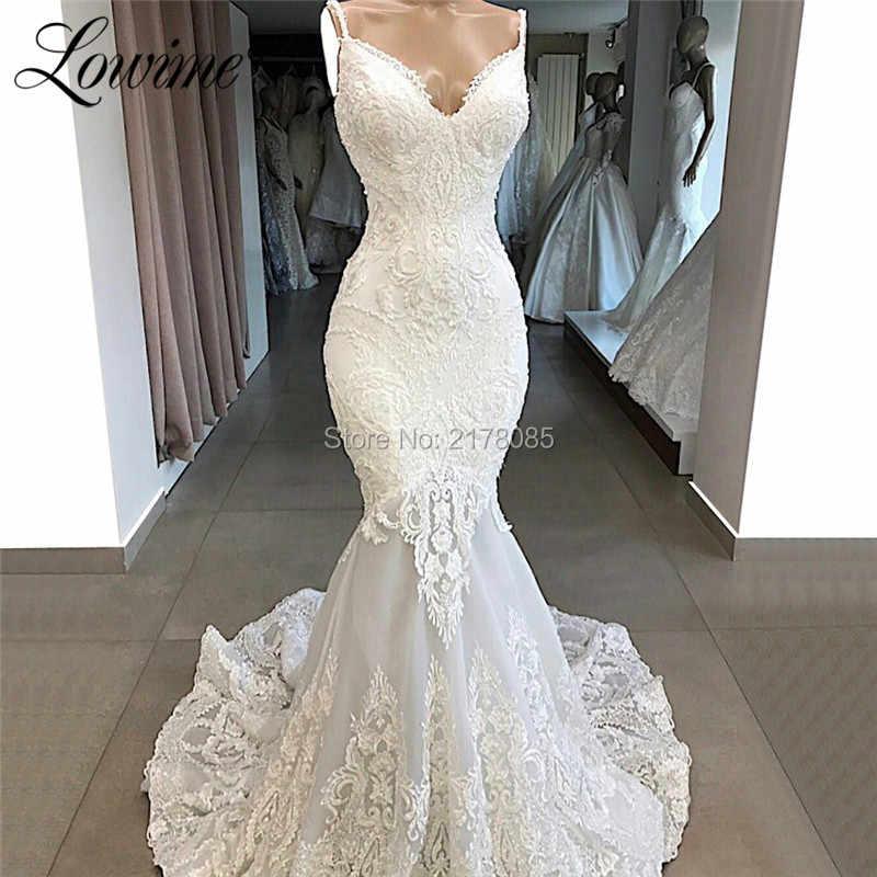 Zarif Beyaz Dantel Abiye Mermaid Suudi arabistan Aplike Düğün Parti Elbise Uzun balo kıyafetleri Önlük Abendkleider 2019