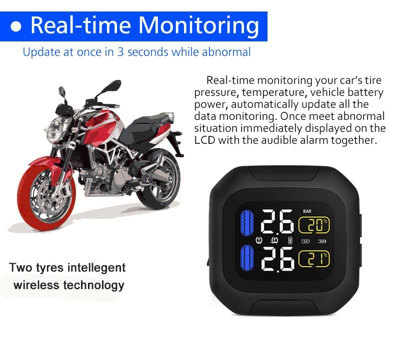 CAREUD M3 système de surveillance de la pression des pneus de moto Protection solaire écran LCD 2 capteur externe WI moteur pneu alarme Aotu - 5