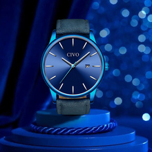 CIVO New 2019 Mens Watches Top Brand Luxury Clock Quartz Watch Men Slim Mesh Steel Waterproof Sport Relogio Masculino Saat