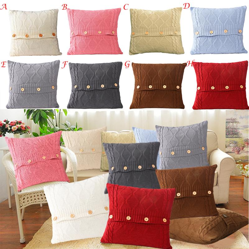 Marvelous Us 8 54 31 Off Hand Made Warm Knitted Throw Pillow Cover Square Button Cushion Cover Simple Sofa Wool Pillowcase For Home Living Room In Cushion Theyellowbook Wood Chair Design Ideas Theyellowbookinfo
