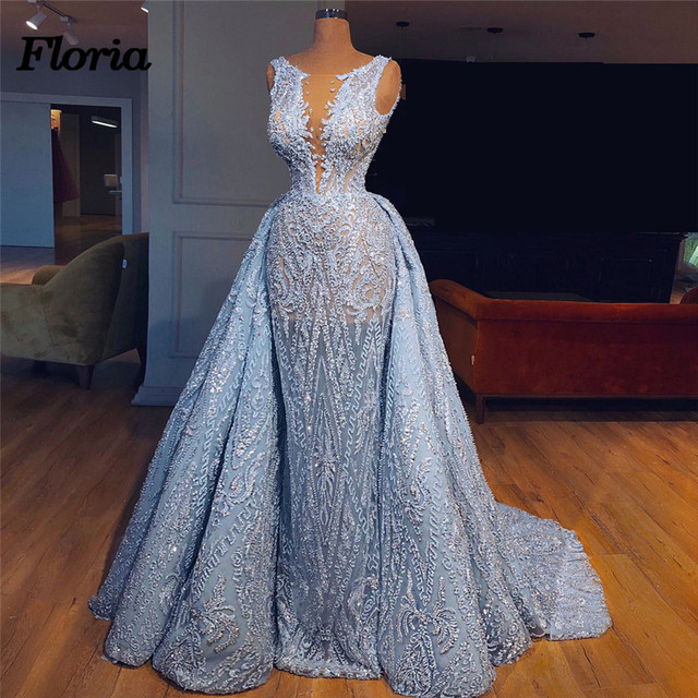 Luxury 2018 Aibye Blue Pageant Evening Dresses with Detachable Skirt African  Muslim Forma Prom Dress Robe de soiree abendkleider beef0ecfd753