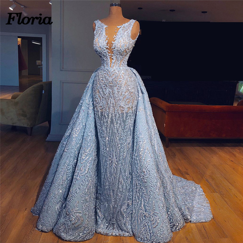Luxury 2018 Aibye Blue Pageant   Evening     Dresses   with Detachable Skirt African Muslim Forma Prom   Dress   Robe de soiree abendkleider