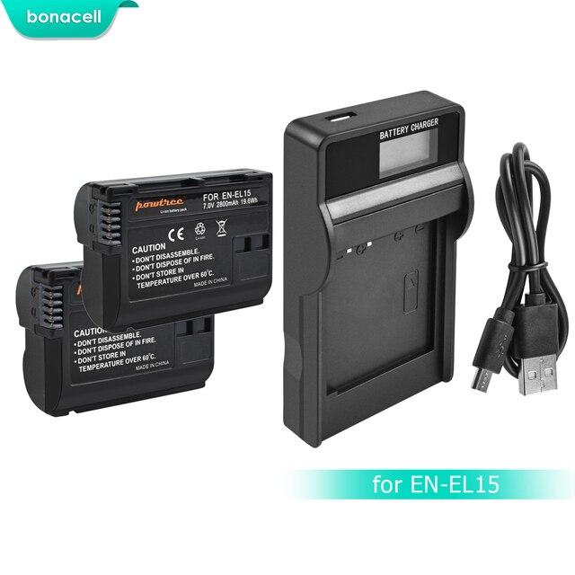 Bonacell 2800 mAh EN-EL15 ENEL15 es EL15 batería Cámara + LCD cargador para Nikon DSLR D600 D610 D800 D800E D810 d7000 D7100 L15