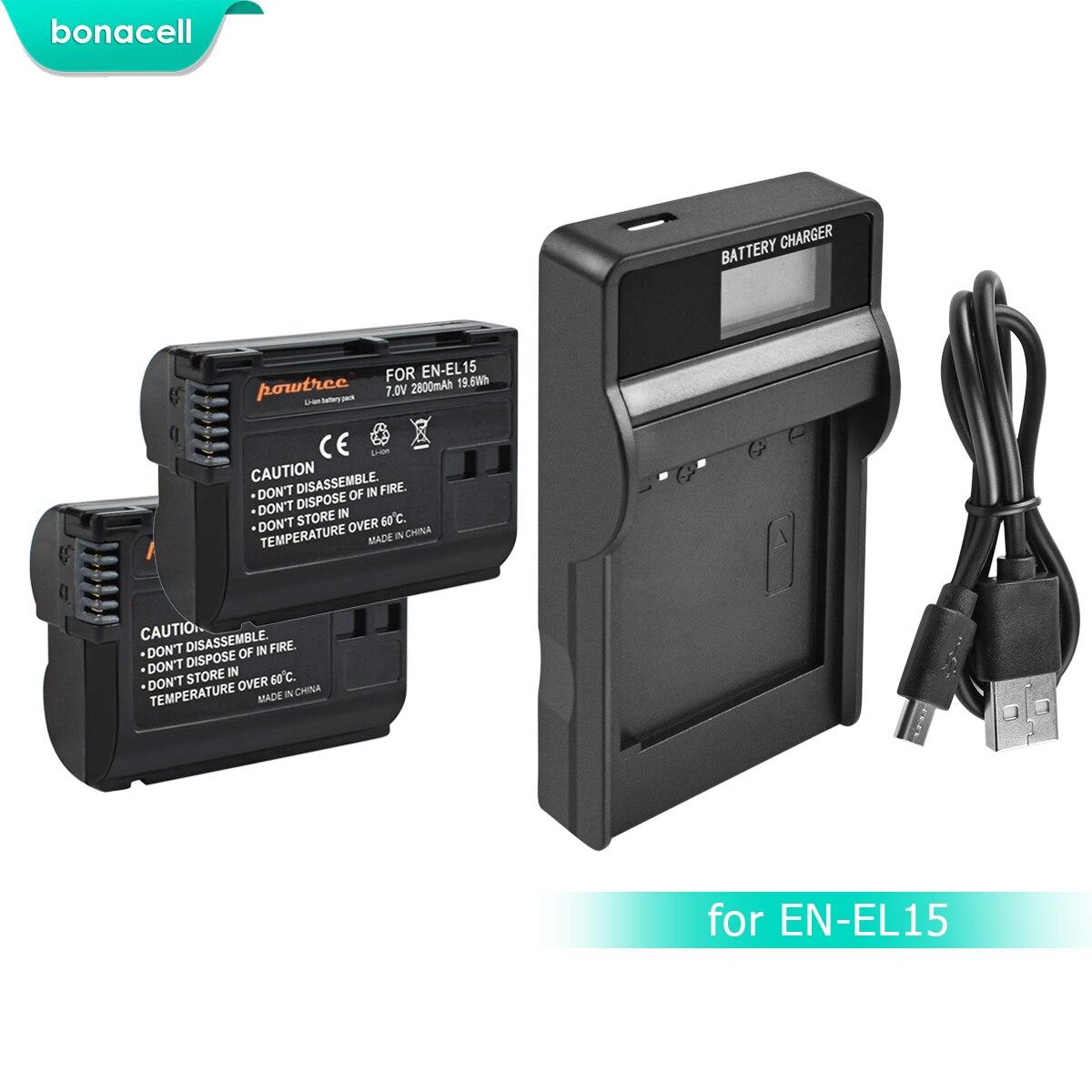 Bonacell 2800mAh EN-EL15 ENEL15 EN EL15 Camera Battery+LCD Charger For Nikon DSLR D600 D610 D800 D800E D810 D7000 D7100 L15