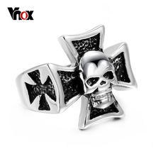 Vnox Big Skull Ring Stainless Steel Gothic Retro Style Men Biker Jewelry(China)
