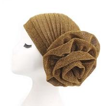 Big Flower Women Turban Hat Fashionable Bright Silk Muslim India Hat Elastic Cloth Head Cap Hat Lady Hair Accessories Wholesale