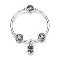 100% 925 Sterling Silver Tropical Fish Ocean Charm Bracelets for Women Moon Star Blue Bracelet & Bangle Jewelry SCB813 BAMOER